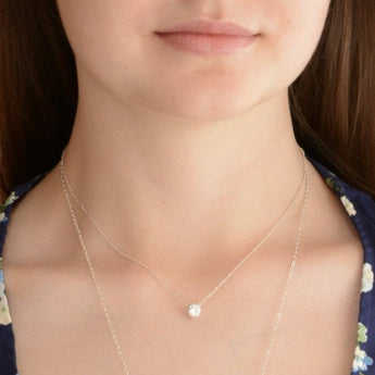 Floating CZ Necklace - Sash Jewelry