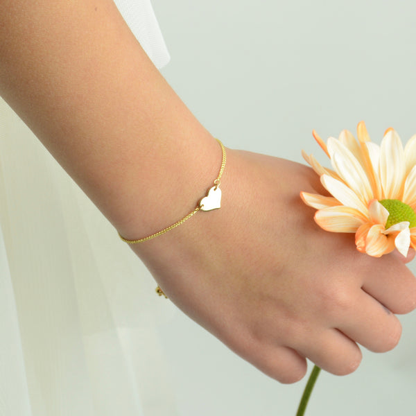 14K Gold Heart Adjustable Bracelet - Sash Jewelry
