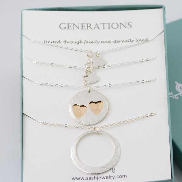 Generations Necklace Set • Grandmother, Mother, and Two Granddaughters - Sash Jewelry