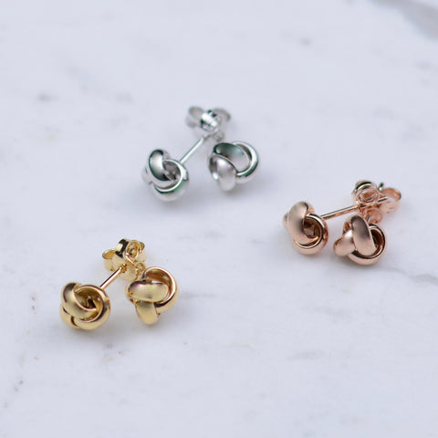 14K gold knot earrings