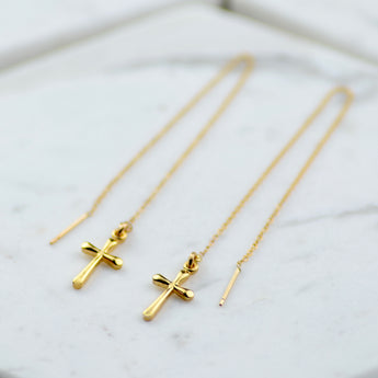 Gold Cross Chain Earrings - Sash Jewelry