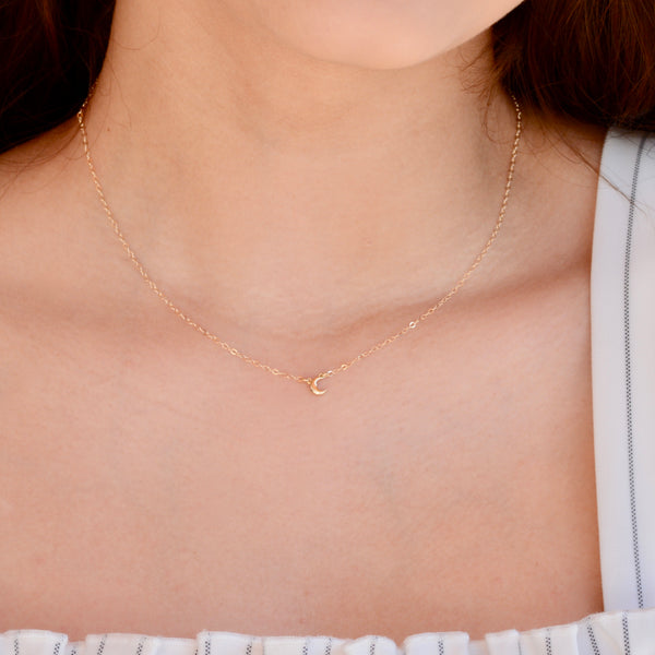 Tiny Crescent Necklace - Sash Jewelry