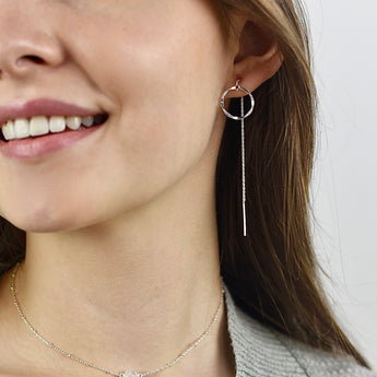 Silver Circle Threader Earrings - Sash Jewelry