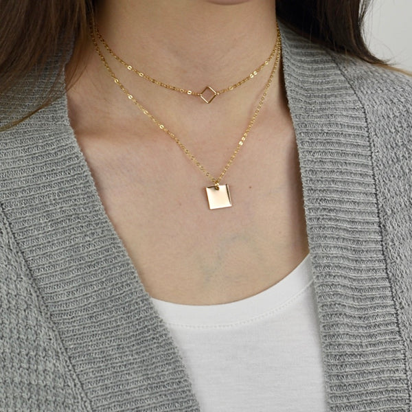 Square layered necklace set - Sash Jewelry