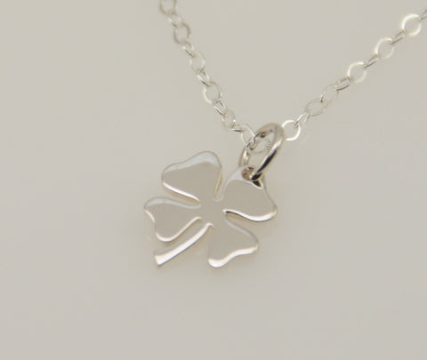 Lucky charm necklace. Four leaf clover pendant. Sterling silver necklace. Sterling silver clover charm