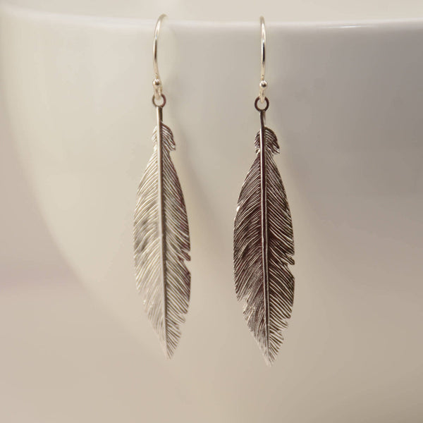 Feather earrings. Sterling silver feather earrings