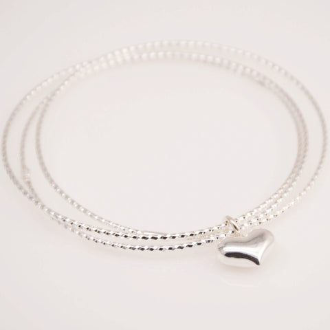 Delicate Heart Triple Bangle Bracelet - Sash Jewelry