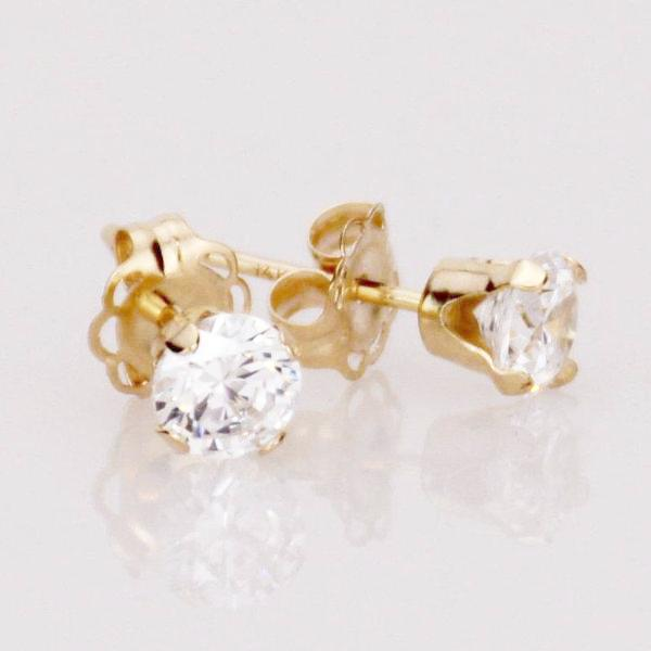 14K Gold CZ Stud Earrings - Sash Jewelry