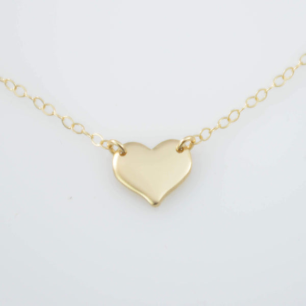 14K Solid Gold Heart necklace. 14K gold petite heart necklace. 14K gold small heart charm necklace. Gold heart necklace