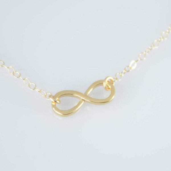 14K Gold Infinity necklace. 14K gold petite infinity necklace. 14K gold small infinity charm necklace. Infinity necklace