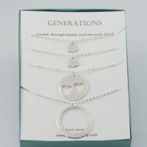 Generations necklace set. Grandmother Mother Two Granddaughter necklaces.
