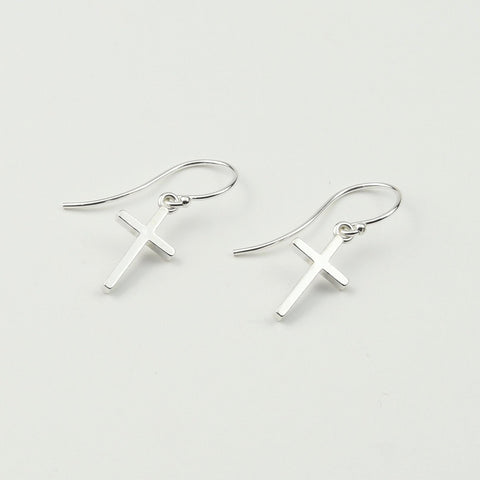Cross Earrings. Sterling silver cross earrings, Christmas gift.