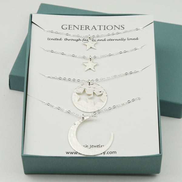 Three Generations gift. Generations necklace set. Grandmother Mother Two Granddaughter necklaces. Moon and stars necklace set