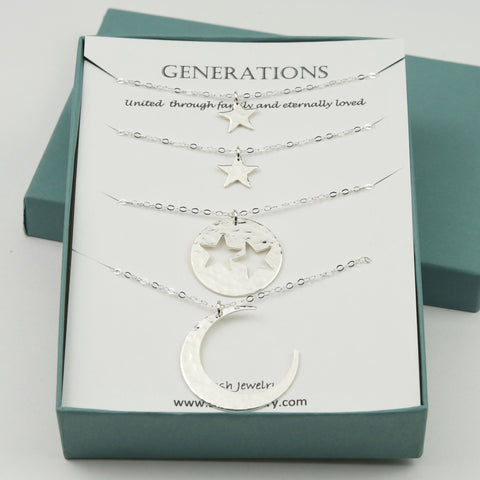Generations gift. Generations necklace set. Grandmother Mother Two Granddaughter necklaces. Moon and stars necklace set