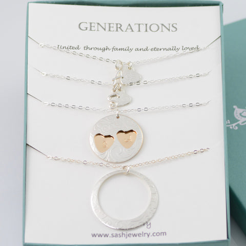 Generations necklace set. Three Generations gift.  Grandmother Mother two Daughters necklace set. Mother's Day gift