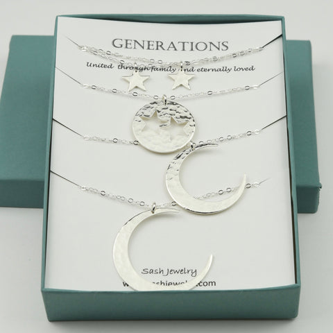 4 Generations necklace set. Great-grandmother Grandmother Mother Two Granddaughter necklaces. Moon and stars necklace set