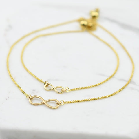 14K Gold Mother daughter infinity bracelet set