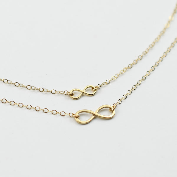 14k Gold Mother Daughter Infinity Necklace set - Mother daughter gift