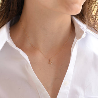 Anchor Necklace. 14K gold petite anchor necklace. Anchor charm.  Anchor necklace