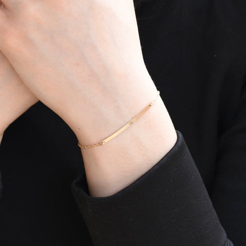 14K Gold Bar Bracelet -  Magnetic clasp gold bar bracelet