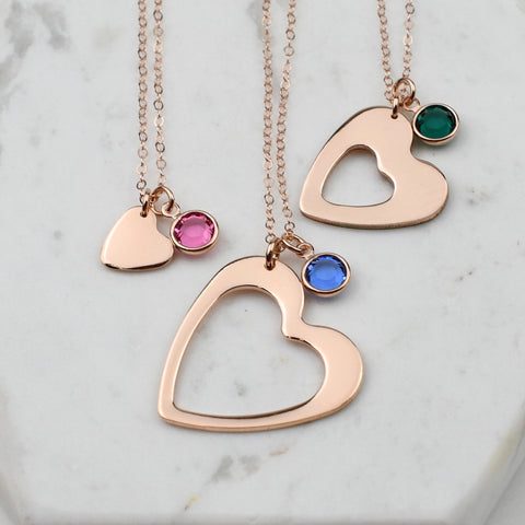 Generations birthstone necklace set, Rose Gold Generations necklace set