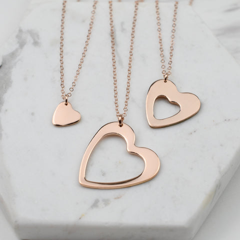 Generations necklace set, Rose gold Generations necklaces Grandmother mother granddaughter necklace set