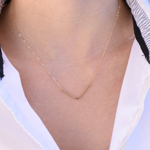 14K Gold V Necklace. Chevron necklace. Thin Chevron Necklace - Solid Gold Necklace