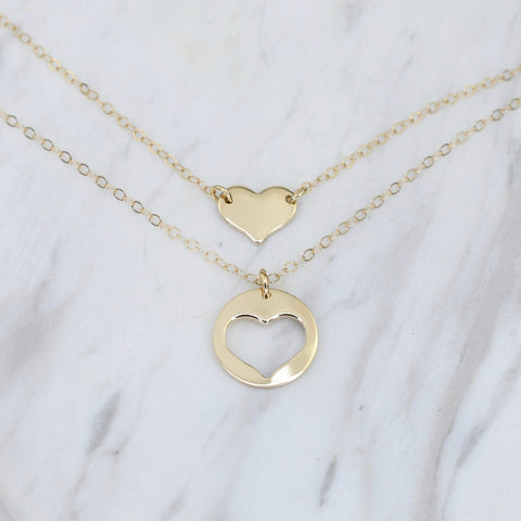 Mother Daughter Gift. Mother daughter 14K gold heart necklace set. Mother Gift.