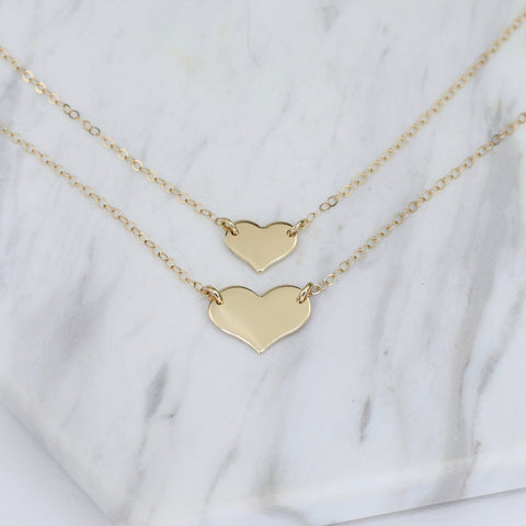 Mother Daughter Necklaces. Mother daughter 14K gold heart necklace set. Mother Gift.