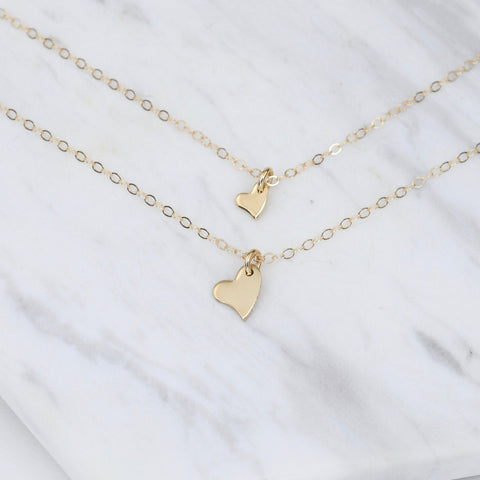 Mother Daughter 14K Gold Tiny Heart Necklace Set