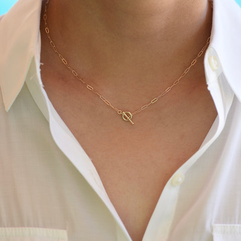 14K Gold Toggle Necklace, Gold Paper Clip Chain, Delicate Necklace Gold Choker. 14K gold Long Link Chain