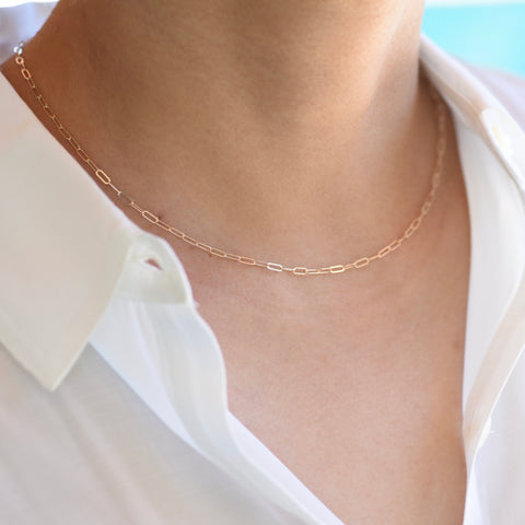 14K Gold Paper Clip Chain Necklace, 14K gold Long Link Chain