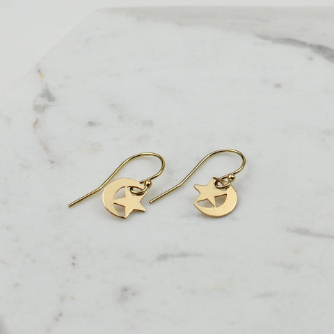 Small star and moon earrings. Crescent moon dangle earrings.