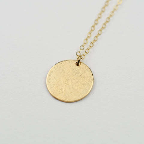 Coin Necklace - Hammered disc necklace sterling silver, gold filled or rose gold filled