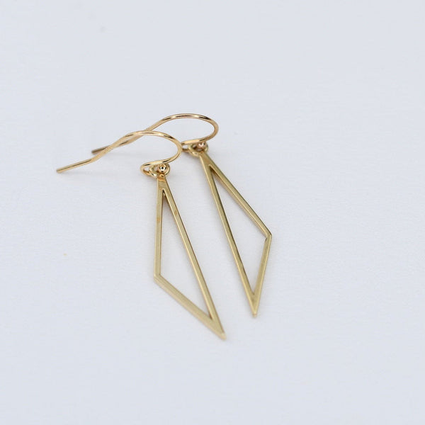 14k Gold Triangle Earrings