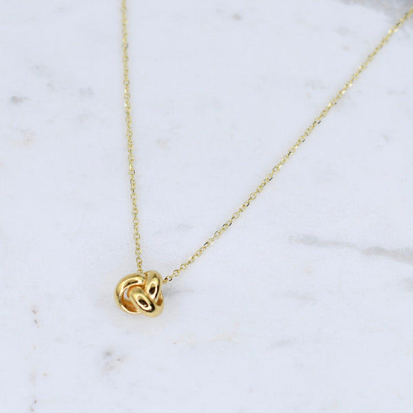 14K Gold Dainty Love Knot Necklace