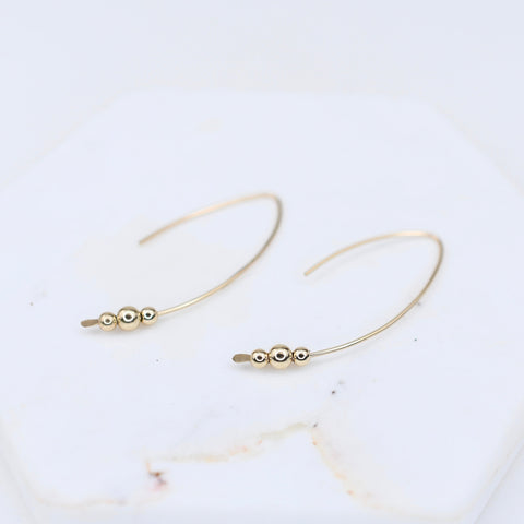 14K Gold Threader Earrings. 14K Gold Hoop Earrings. Open Hoop Earrings. 14K Solid Gold Minimalist Earrings