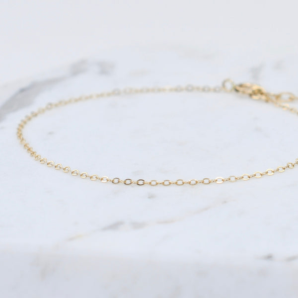 14K Ultra Delicate Gold Anklet - Thin chain anklet