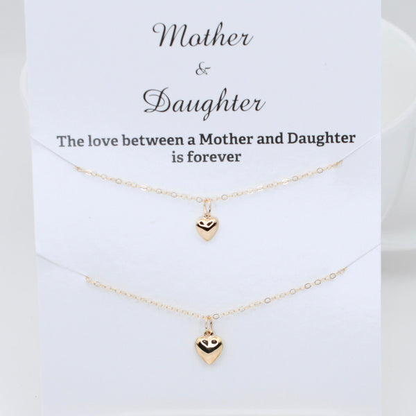 14K Gold Mother Daughter Heart Necklace Set