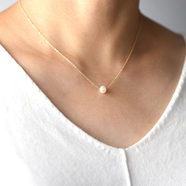 14K Gold Floating Pearl Necklace