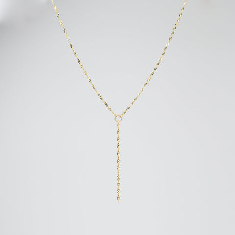 14k Gold Y Necklace. 14K sparkle chain necklace. 14k delicate y necklace.