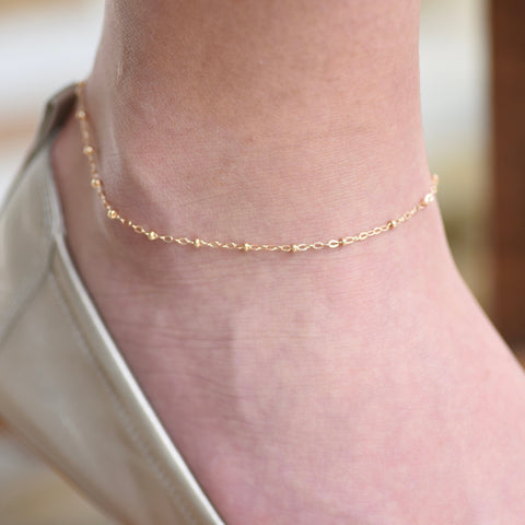 Delicate Anklet  - Satellite Anklet - Solid Gold Simple Anklet - Gold Satellite Chain Anklet