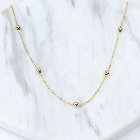 14K Gold Beads Necklace. Delicate Necklace. 14K gold sliding adjustable beads necklace