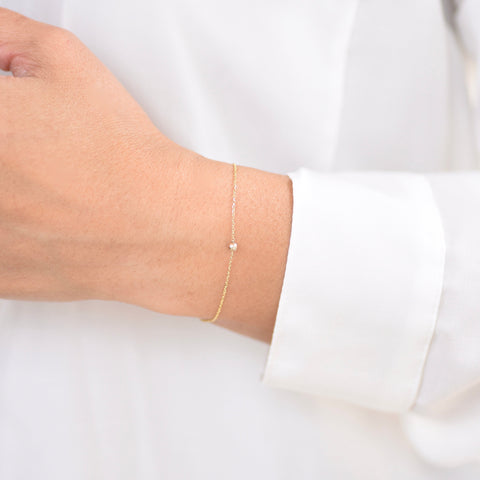 14K Ultra Delicate Gold Beads Bracelet - Thin chain bracelet