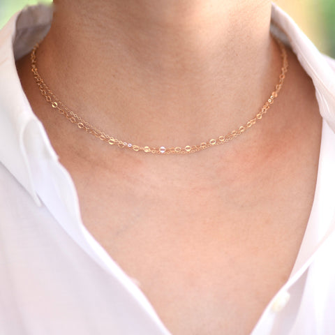 14K Gold Double Chain Necklace - 14K Gold Double Chain Choker.