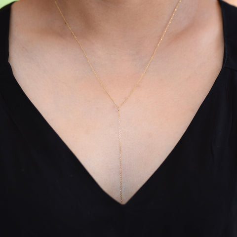 14K Gold Delicate Y Necklace - 14K Gold Delicate Chain Necklace