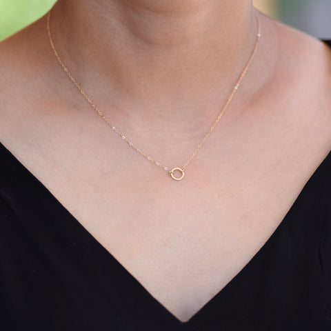 14K Solid Gold Karma Necklace - 14k Gold Circle Necklace - 14k Gold Delicate Neckalce