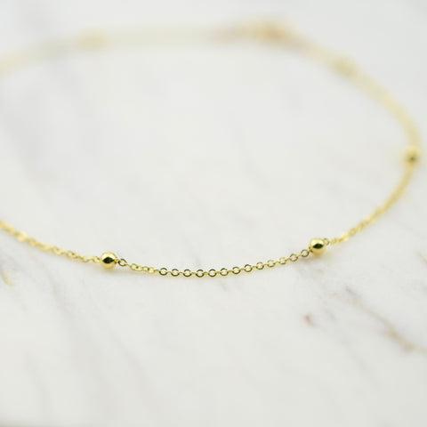 14K Gold Dainty Chain Anklet - 14K Gold Cable Chain with Round Beads Anklet - 14K Solid Gold Anklet