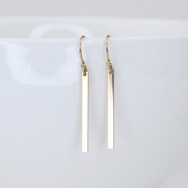14K Gold bar earrings.