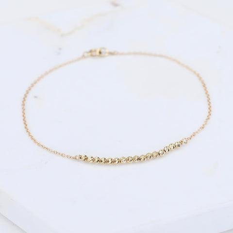 14K Gold Tiny Dainty Beads Bracelet